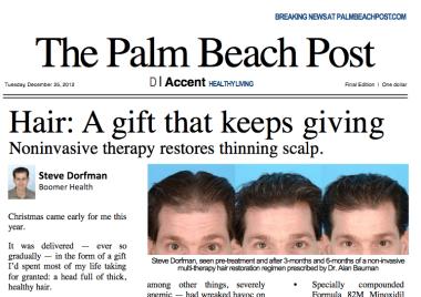 "The Palm Beach Post ""Hair: A gift that keeps giving"" article features Dr Bauman"
