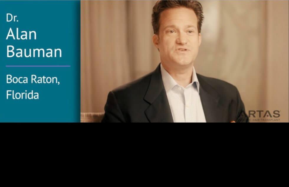 Video Dr Alan Bauman Discusses Artas Robotic Isted Hair Transplantation Medical